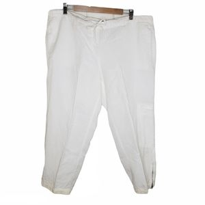 Eileen Fisher Tencel/Linen Blend Crop White Pant L